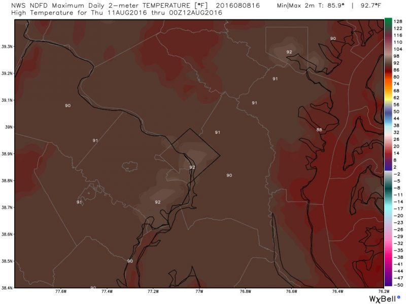 The National Weather Service high temperature prediction for Thursday which shows highs in the low 90s. Curious