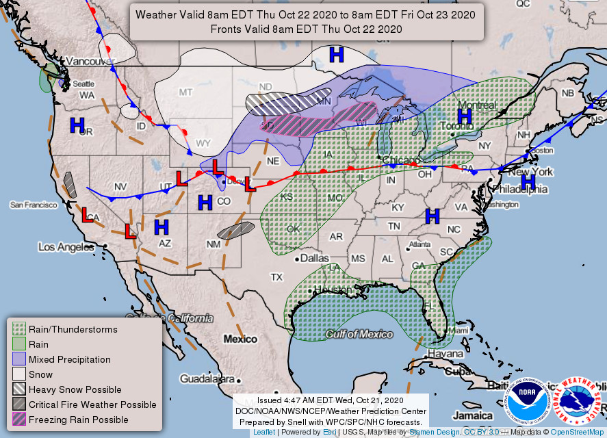 National Forecast Chart from Thursday to Friday. High pressure over the DMV.